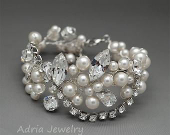 Cuff Bracelet Bridal Bracelet Pearl Wedding Bracelet Wide Swarovski Crystal Bracelet Rhinestone Bracelet Swarovski Bridal Jewelry