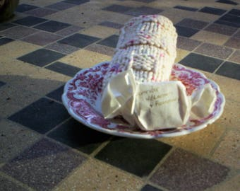 Knitting Hand Made Washcloth soft and nice 100% Cotton with a compliment organic sample soap