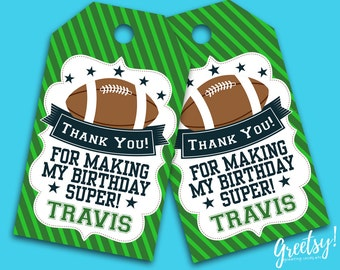 Superbowl Thank You Tags, Superbowl Birthday Favor Tags, Superbowl Party Tags, American Football, Superbowl Print Supplies, NFL inspired tag