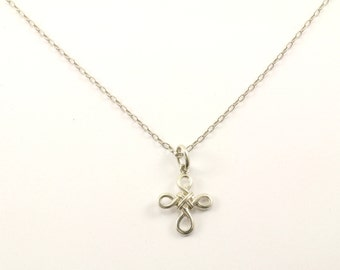 Vintage Religious Cross Pendant Necklace 925 Sterling Silver NC 345