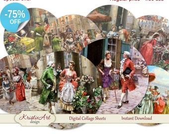 75% OFF SALE Fêtes galantes - Digital card C050 collage sheet printable download tags digital vintage digital image atc card vintage cards
