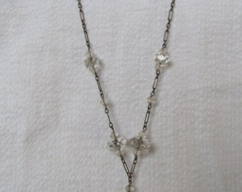 Vintage Faceted Clear Crystals Lariat Chain Necklace