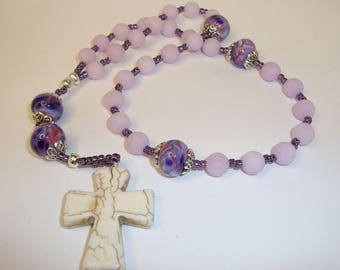 Protestant Rosary, prayer beads, anglican prayer beads, Abundant Grace Rosaries, Indylin, purple jade, lampwork beads, white turquoise cross
