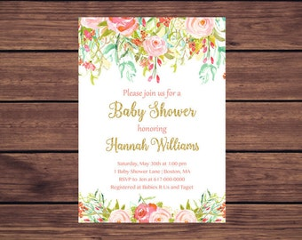 Floral Baby Shower Invitation, Baby Girl Shower, Colorful Flowers Pink and Mint     893 Printable