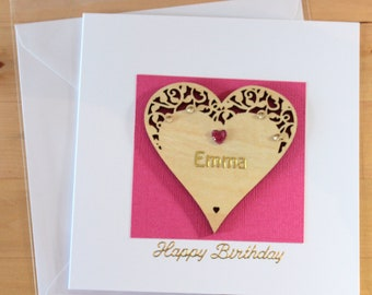 Personalised Birthday Card, gift,  Birthday card her, 21st birthday card, Handmade birthday Card, Wood card,  Greetings card handmade