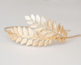 Greek Tiara, Gold leaf Headband, Woodland Crown, Grecian Crown, Grecian Headpiece, Boho Headband, Laurel Leaf Crown, Leaf Headband