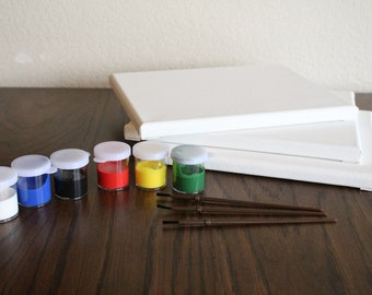 Three-Pack Canvas and Acrylic Paint Starter Kit