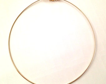 14k yellow gold filled wire hoop necklace with 14 gauge , 16 gauge or 18 gauge round wire - NO RETURN