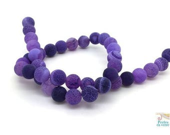 10 pearls 10mm (pg20), purple dragon vein agate