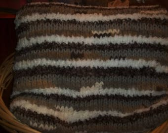 Handmade Neutral Tones Knit Afghan....Browns
