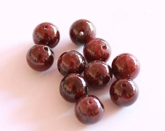 Black 8 mm, set of 8 red garnet stone beads
