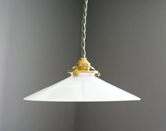 Antique french ceiling light in white glass, french pendant lamp - opaline light -