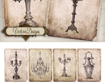 Grunge Candles atc digital background instant download printable images collage sheet VD0433