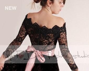 Black  Bridal lace bolero/Off-Shoulder /Lace wedding jacket/cover up