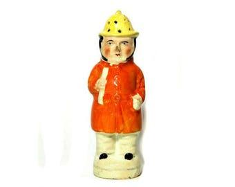 19th Century Antique Staffordshire Fireman Figural Pepper Pot