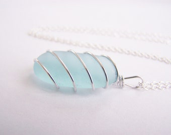 Something Blue - Sea Glass Necklace - FREE Shipping with another item- bridesmaids - weddings - beach -