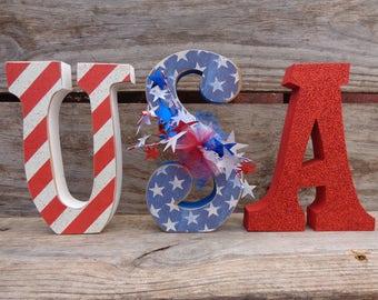 Summer Decor- Americana Decor-4th of July- USA Decor-USA letter set