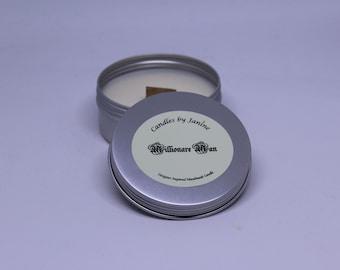 Handmade designer inspired scented candle. wood wick tin millionare man
