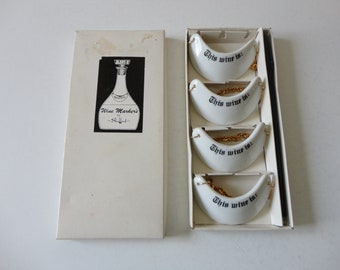 VINTAGE set of 4 white porcelain WINE MARKERS - the shafford co. - original box and marker included - dinner party