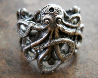 Octopus Ring in Antiqued Silver