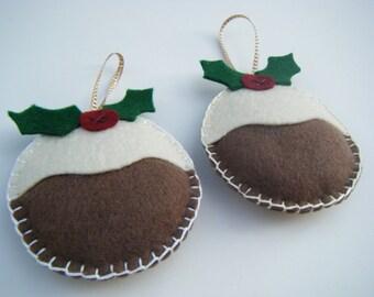 Felt Christmas Decoration, Christmas Pudding Decoration, Felt Christmas Pudding Ornament