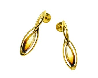 Beautiful baltic amber earrings on vermeil