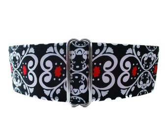 Martingale Collar Greyhound, Red White and Black Martingale Collar, Christmas Martingale Collar, Sighthound Collar, Made in Canada