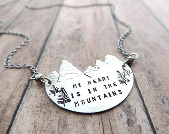 Silver Mountain Necklace - My Heart is in the Mountains - Mountain Range Jewelry - Outdoor Gift for Her - Hiker Gift - Mountain Lover -