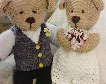 Bride and Groom Teddy Bear Knitting Pattern