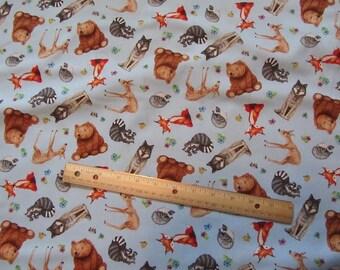 Blue Woodland Animal Bear/Deer/Wolf/Racoon/Fox Cotton Fabric by the Yard