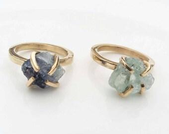 Brass ring Big Raw stone ring Natural stone Ring Fluorite Ring  Engagement ring Druzy Ring gold ring green stone ring blue stone ring