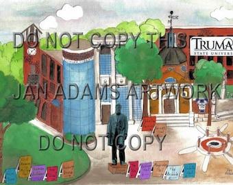 GRADUATION - Truman University- Kirksville, Missouri - Watercolor Painting Graduation Gift Full of Memories Missouri Retirement HouseWarming