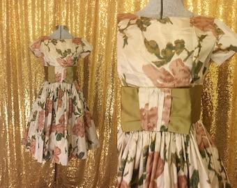 1950s Taffeta Party Dress // Brown Floral Silk Dress // Fit and Flare Full Skirt Alternative Wedding Bridesmaid Dress Small XS