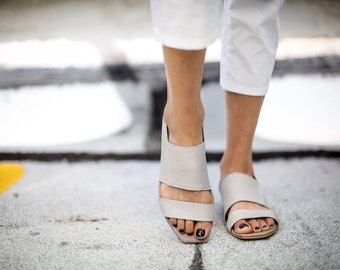 SALE, Grey Summer Shoes, Grey Sandals, Leather Sandals, Greek Sandals, Summer Flats, Handmade Sandals, Grey Strappy Sandals, Capri