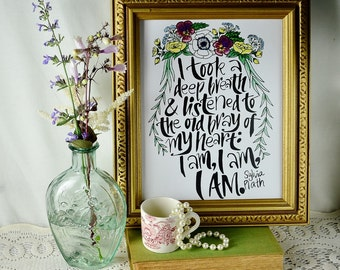 Hand-lettered floral Sylvia Plath quote