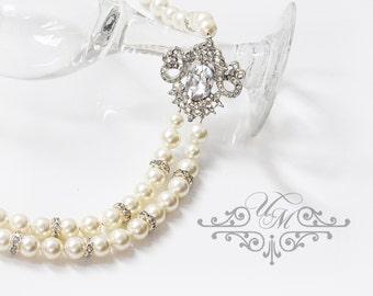 Wedding Jewelry Double strands Swarovski Pearl Necklace Rhinestone Necklace Bridal Necklace Bridal Jewelry Bridesmaids Necklace - MICHELLE