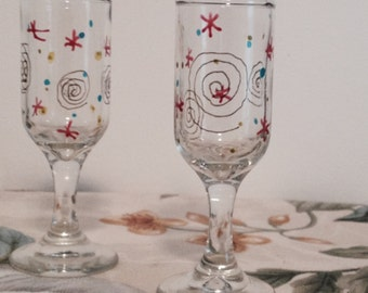 Handpainted glass; upcycled, decorated cordial glasses; set of 4