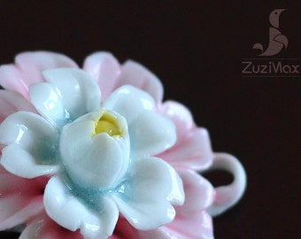 Flower Pendant, Ceramic Pendant, Jewelry Pendant, Porcelain Flower, Ceramic Flower, Flower Necklace Pendant, Necklace Flower (PF-0012D)