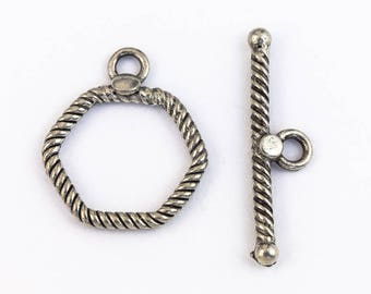 16mm Antique Silver Pewter Hexagon Toggle Clasp (12 Pcs) #CLB204