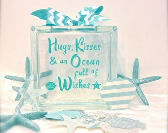 "Unique Guest Book Wish Block -Glass Block with ""Hugs, Kisses and an Ocean full of Wishes"" - May Be Personalized  - Paper Shells & Starfish"