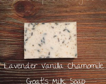 Lavender Vanilla Chamomile Goat's Milk Soap; Bar Soap; Homemade