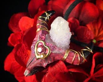 Soulful Intimacy - Spirit Quartz w/ Swarovski Crystal Enlightened Longhorn Necklace