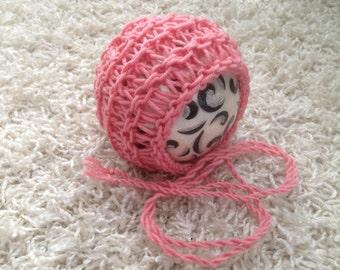 Newborn ,0-3,3-6,6-12 month and toddler size round back slip stitch lace knit bonnet