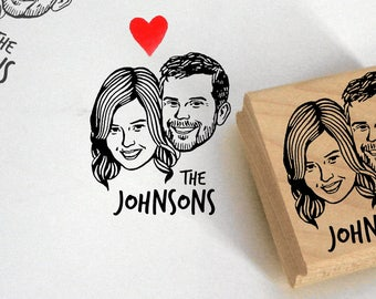 Custom portrait Personalized gift for couples wedding favor for guest invitations stamp / valentine's gift mrs art stampin return address