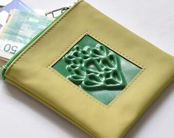 Vegan green coin purse - coin purse wallet - green coin purse - vegan coin purse - women coin pouch - designer coin purse - medusa pouches