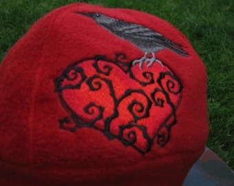 Raven and Thorny Heart Fleece Ear Flap Hat