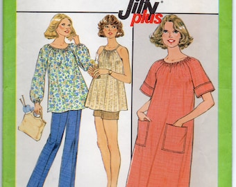 Maternity Dress Or Top With Elastic Neckline Casing Size 14 Sewing Pattern 1977 Jiffy Simplicity 8381