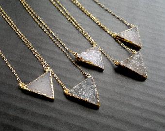 Druzy Necklace Druzy Triangle Necklace Gold Edged Druzy Drusy Jewelry Natural Color Stone Necklace Gold Druzy Necklace Stone Jewelry Simple
