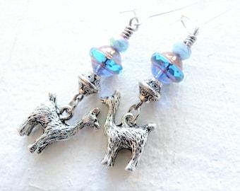 Silver Llama Earrings Alpaca Dangle Earrings Llama Gift for Her Animal Lover Gift Turquoise  Blue Czech Glass Earrings Animal Jewelry