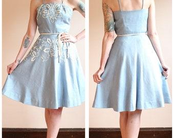 1950s Dress // Sweet Candy Linen Dress // vintage 50s dress